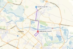 маршрут эвакуатора в тюмени: Ул. Хабаровская 25 - ул. Зимняя 50а, буксир 24