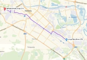 маршрут эвакуатора в Тюмени: Ул. Авторемонтная 31а - ул. Республики 278, буксир 24