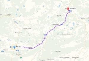 маршрут эвакуатора в тюмени: Тобольск - Тюмень, буксир 24